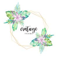 Quadro floral tropical em aquarela vetor