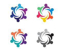 Comunidade, rede e ícone social vetor