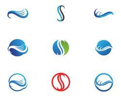 Ícone e símbolo de onda de água Logo vetor de modelo