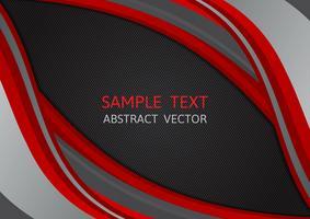 Onda de cor vermelha e preta abstrata de fundo vector com espaço de cópia, ilustração vetorial