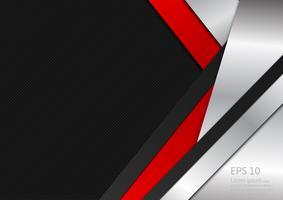 As ondas abstratas do vetor projetam o fundo vermelho da textura geométrica de prata e preta