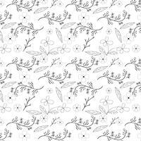 Projeto padrão sem emenda de flor e videira sobre fundo branco, ilustração vetorial