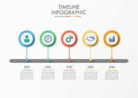 Mapa de estrada de negócios. ícones de infográfico timeline projetados para modelo abstrato com 5 opções.