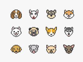 cão enfrenta ícones de pixel art vetor