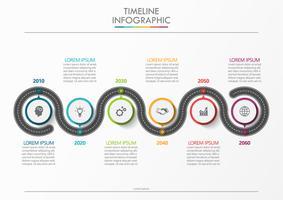 Mapa de estrada de negócios. ícones de infográfico de cronograma projetados para modelo abstrato