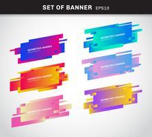 Conjunto de bandeiras geométricas ou rótulos de cores vivas gradiente cartões plásticos feitos no estilo de design material. Você pode usar para banner de fita de promoção, etiqueta de preço, adesivo, crachá, cartaz. vetor