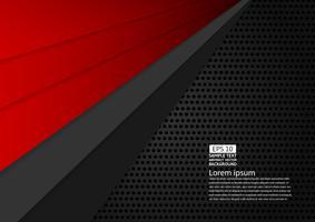Design moderno abstrato geométrico de cor preta e vermelha com espaço de cópia ilustração vetorial