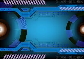 Conceito de tecnologia de fundo abstrato de cor azul, ilustração vetorial