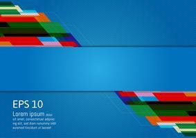 Resumo de design moderno geométrico multicolorido sobre fundo azul, com espaço de cópia, ilustração vetorial vetor