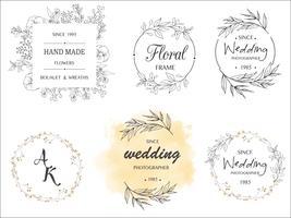 design de logotipo de grinalda de folha mão desenhada vetor