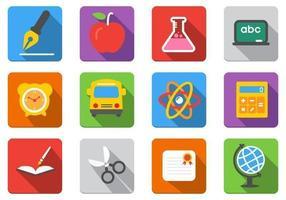 Pacote de ícones de vetor de educação plana