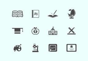 Pacote de ícones de vetor de escola simples