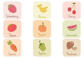 Pacote de vetores de frutas e vegetais desenhados à mão