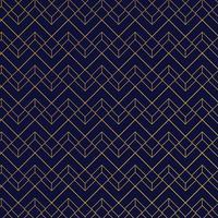 Padrão geométrico ouro com linhas em estilo art deco de fundo azul escuro vetor