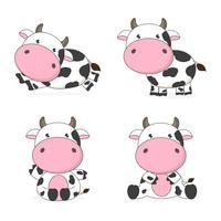 Ilustração em vetor personagem dos desenhos animados vaca bonito