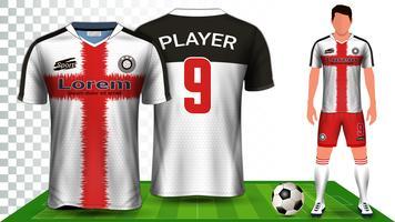 Camisa de futebol, camisa de esporte ou modelo de maquete de apresentação de uniforme de futebol Kit. vetor