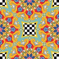 Fundo brilhante sem emenda. Mandala decorativa redonda étnica colorida. Padrão de moda. Ilustração vetorial