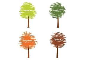 Jogo de desenho de árvore de outono desenhado por giz vetor