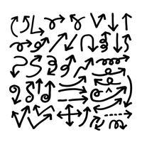 Mão, desenhado, seta, ícone vetor