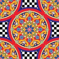 Fundo brilhante na moda sem emenda. Mandala decorativa redonda étnica colorida no teste padrão quadriculado. Ilustração vetorial