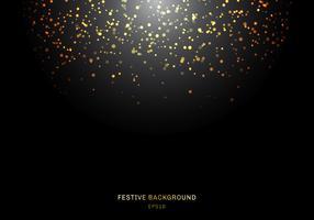 O brilho dourado de queda abstrato ilumina a textura em um fundo preto com iluminação. Pó de ouro mágico e brilho. Fundo festivo de Natal