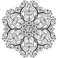 Elemento ornamental redondo bonito para o projeto em cores preto e branco. Ilustração vetorial