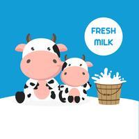 Vaca bonita com balde de leite. Ilustração vetorial