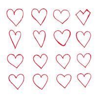 Mão, desenhado, corações, ícone vetor