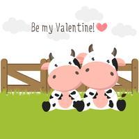 Pares de vacas bonitos no amor no campo de grama verde. vetor