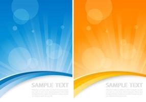 Orange and blue sunburst vector background pack