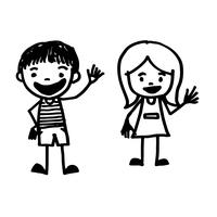 desenho de garoto desenhado de mão vetor