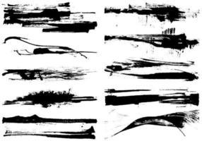 Pacote de vetores secos do grunge Paint Stroke