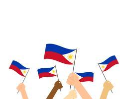 Vetorial, ilustração, mãos, segurando, bandeiras filipinas, branco, fundo