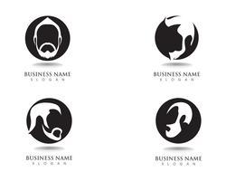 logotipo e símbolo do totó do cabelo preto da barba masculina vetor