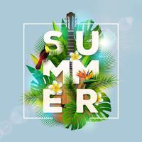 Design de férias de verão com tucano pássaro