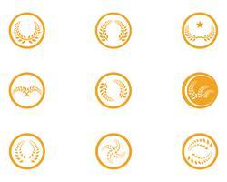 Agricultura trigo logotipo modelo vector design de ícone app