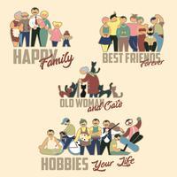 Grupo pessoas família, amigos, mulher velha abd gatos, passatempos vetor