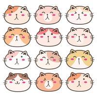 Conjunto de personagens de gato bonito mão desenhada. Ilustração vetorial.