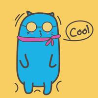 Gato fresco com óculos de sol. Ilustração vetorial. vetor