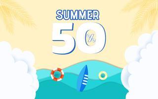 Ondas de papel de vista mar azul superior e design de publicidade de venda de praia