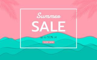 Ondas de papel de vista mar azul superior e design de publicidade de venda de praia vetor