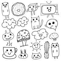 Kawaii Doodle Para Crianças. Mão desenhada ilustração vetorial.