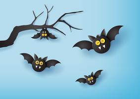 arte de papel de feliz dia das bruxas vetor