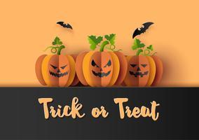 Festa de Halloween com abóboras assustadoras vetor