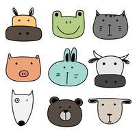 Conjunto De Animal Bonito. Mão desenhada ilustração vetorial