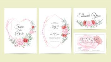 Aquarela Floral Frame Wedding Invitation Cards Set Template. Mão desenho flor e ramos salvar a data, saudação, obrigado e cartões de RSVP multiuso vetor