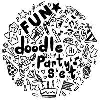 mão desenhada feliz aniversário ornamentos fundo doodle ementevent padrão festa ilustração vetorial