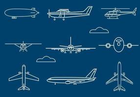Pacote de vetores de aeronaves delineadas