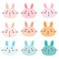 Mão desenhada Bunny conjunto de caracteres fofos. Ilustração vetorial.