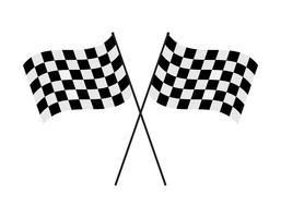 Bandeira quadriculada cruzada de ilustração vetorial no fundo branco vetor